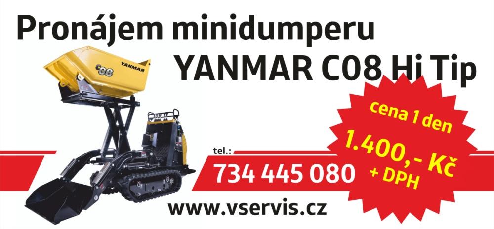 Pronájem minidumperu - cena 1400 Kč za den